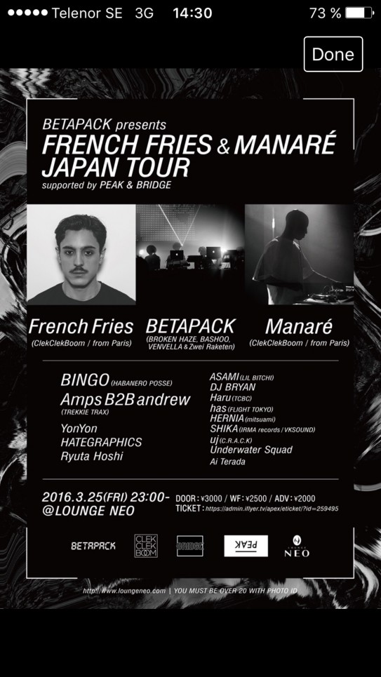 MANARÉ – ASIAN TOUR – MARCH 2016
